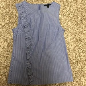 Blue and white strip sleeveless top